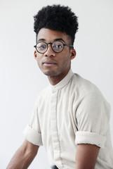Portrait of stylish man on white background