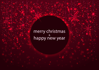 template of greeting card, Merry Christmas and happy New Year, with round frame, glowing redsnowflakes background
