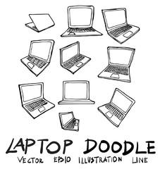 Set of laptop doodle illustration Hand drawn Sketch line vector eps10