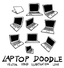 Set of laptop doodle illustration Hand drawn Sketch line vector eps10