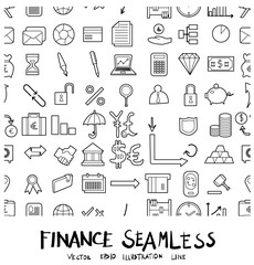 Finance Doodle background seamless pattern icon line vector set eps10