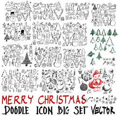 MEGA set of icon doodle Christmas illustration Hand drawn Sketch line vector eps10