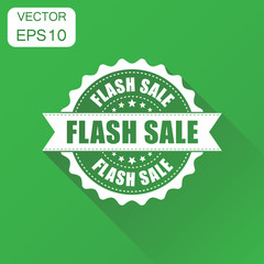 Flash sale rubber stamp icon. Business concept sale discount stamp pictogram. Vector illustration on green background with long shadow.