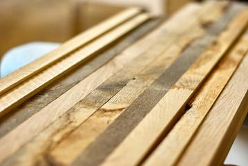 Wooden slats from oak