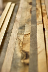 Wooden slats from oak