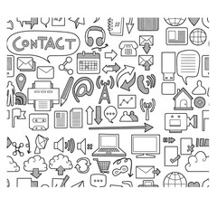 contact doodle seamless backround pattern sketch vector ink eps10