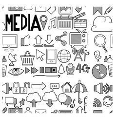 media doodle  seamless backround pattern  sketch vector ink eps10