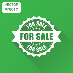 For sale rubber stamp icon. Business concept for sale stamp pictogram. Vector illustration on green background with long shadow.