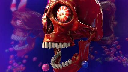 3D rendering of skull of candies. Halloween background illustration.