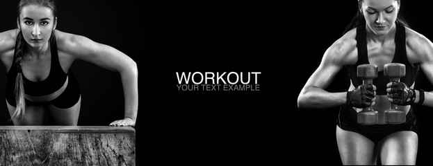 Sporty and fit woman with dumbbell exercising at black background to stay fit. Workout and fitness motivation.