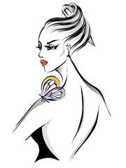 Black and white beautiful woman with butterfly, model profile portrait, hair salon, hand drawn vector illustration