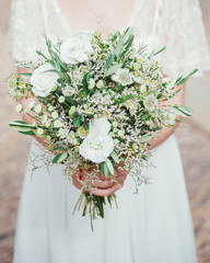 Bride and white bouquet