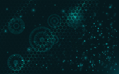 technology modern background, glowing particles, honeycombs grid, connecting  hexagons net, technologies concept, abstract machine details, vector