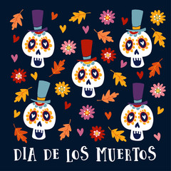 Dia de Los Muertos greeting card, invitation. Mexican Day of the Dead. Ornamental sugar skulls with hat and autumn leaves and flowers. Hand drawn vector illustration, background.