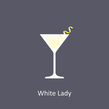White Lady cocktail icon in flat style on dark background
