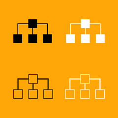 Network black and white set icon.