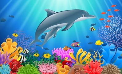Cartoon dolphin with Coral Reef Underwater in Ocean. Vector illustration