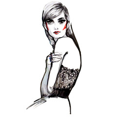 Woman portrait. Hand painted watercolor. Fashion illustration in black white red.