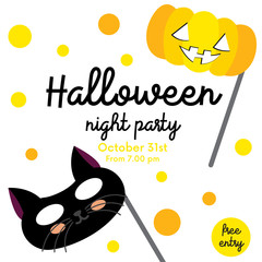 Cute Halloween night party design concept with black cat and pumpkin masks on polka dots background for poster, banner, party invitation, greeting card. Vector Illustration.