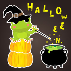 Cute Halloween design concept with magic frog sitting on pumpkins spelling on cauldron to create HALLOWEEN lettering for poster, banner, party invitation, greeting card. Vector Illustration.