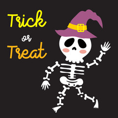Cute Halloween in Trick or Treat design concept with skeleton wearing witch hat on black background for poster, banner, party invitation, greeting card. Vector Illustration.