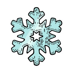 Snowflake. Vector vintage color engraving illustration.