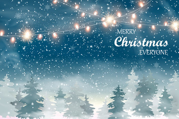 Fotomurales - Merry Christmas Everyone. Christmas landscape with Falling Christmas snow, coniferous forest, light garlands. Holiday winter landscape. . Snowfall background. Vector illustration