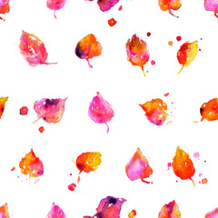 Watercolor seamless pattern. Colorful fall leaves hand painted illustration