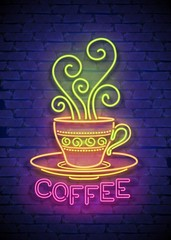Coffee House Singboard Template with Cup, Swirl Hot Steam, and Inscription. Cafe Label, Eatery, Restaurant. Shiny Neon Light Style. Advertisement Flyer. Vector 3d Illustration. Abstract Decorative Art