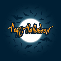 Happy Halloween. Letthering congratulations on the background of the moon and bats. Vector illustration.