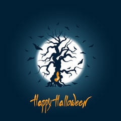 """Poster for the holiday of Halloween. A curved tree and bats against the sky and the moon. Lettering """"Happy Halloween"""". Vector illustration."""