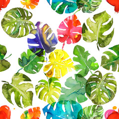 Rainbow colors watercolor monstera leaf hand made seamless pattern