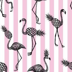 Wall Mural - half flamingo stripe pink background