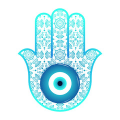 Ornate hamsa, amulet against the evil eye and spoilage. Vector