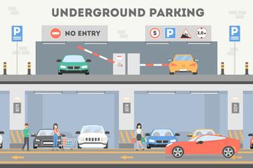 Underground parking lot. Fototapete