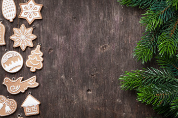 Christmas background with gingerbread cookies
