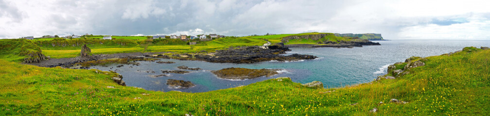 Panorama of Dunseverick Waterfalls. Relaxing view Landscape of Northern Ireland.