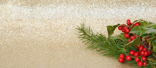 Fond paillettes Noël avec sapin et houx