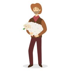 Farmer with sheep.