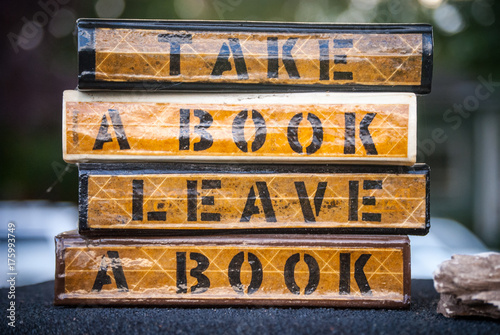 """""""Take a Book Leave A Book Lending Library"""" Stock photo and ..."""
