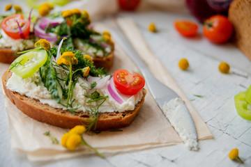Promegranate green sourdough open face sandwiches toast