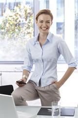 Portrait of happy smiling businesswoman