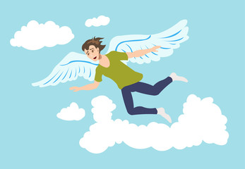 Young man flying with the wings in the sky like a bird.  Freedom, relaxation, mindfulness concept illustration vector.