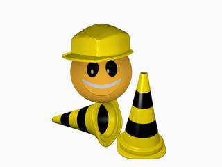 Lachendes Emoticon mit Schutzhelm und Leitkegeln in schwarz-gelb für die Betriebssicherheit