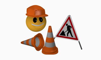 Lachendes Emoticon mit Schutzhelm sowie Leitkegeln und Warnaufsteller für eine Baustelle