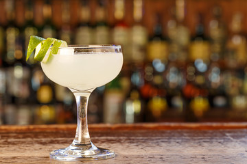 Daiquiri cocktail with rum and lime juice