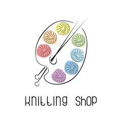 Emblem with yarn and knitting needles. Logo for knitting club, yarn store, handmade artist.