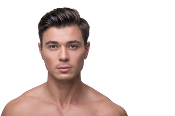 Fotorolgordijn Akt Attractive youthful male is expressing confidence