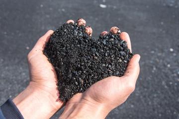 Icelandic black heart on the black sand beach. Vik, Iceland