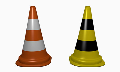 Leitkegel für die Gefahrenstellensicherung in orange-weiß und Gelb-schwarz